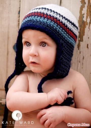 patrones crochet, gorros con orejeras para niños y bebés 9