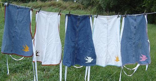 Ideas para reciclar vaqueros delantales hechos con jean reciclado