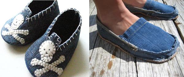 Ideas para reciclar vaqueros zapatos de bebé y pantuflas de jean reciclado