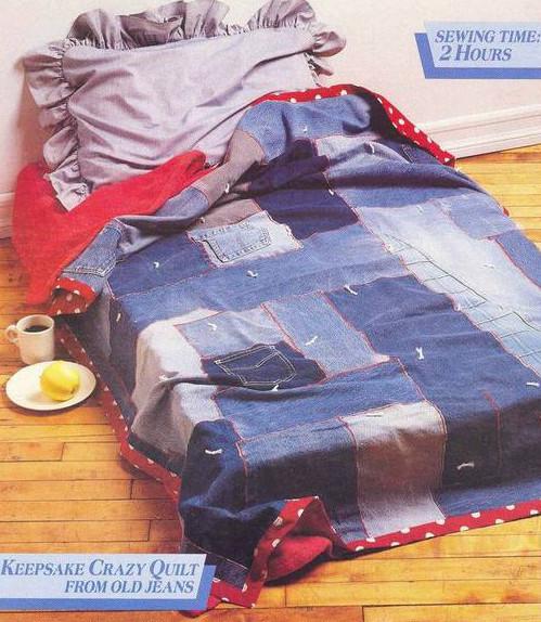 Ideas para reciclar vaqueros cubrecama de retazos de jean reciclado