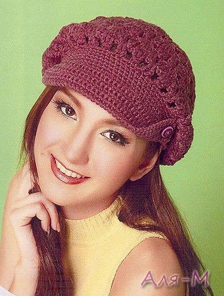 Patrones de boinas a crochet modelo con visera
