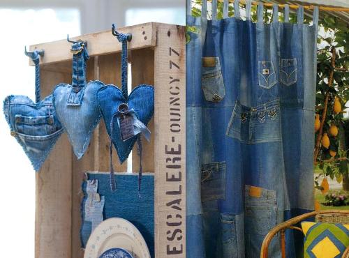 Ideas para reciclar vaqueros corazones de jean y cortina de retazos de tela vaquera