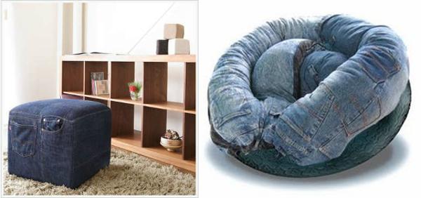 Ideas para reciclar vaqueros, ejemplos de sofás y puffs de tela reciclada