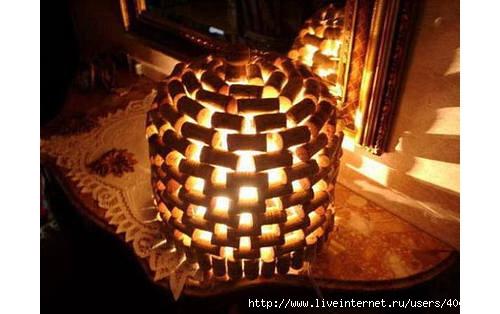 Ideas para reciclar corchos lámpara artesanal