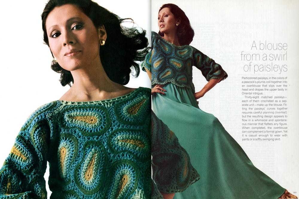 Modelo de sueter en crochet paisley