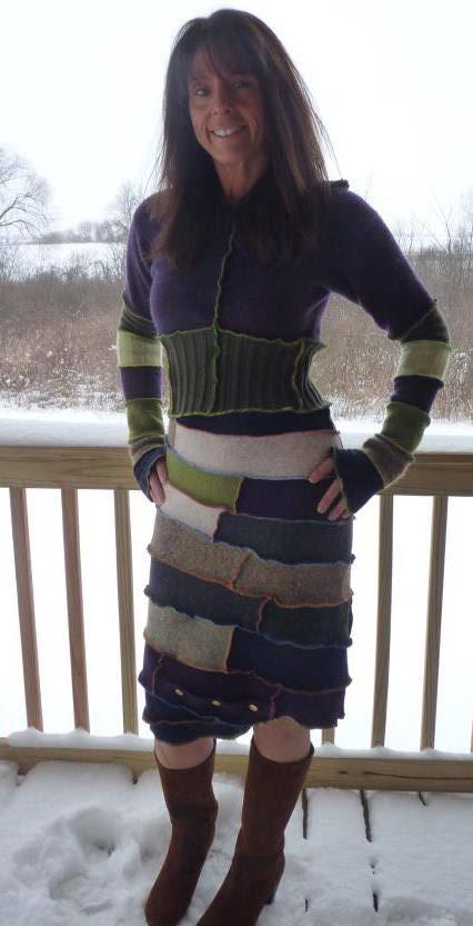 Vestido hecho con reciclaje de tejidos