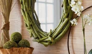 Espejo artesanal de ramas secas