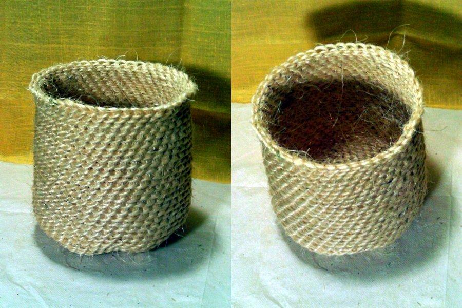 Recipientes en crochet con rafia