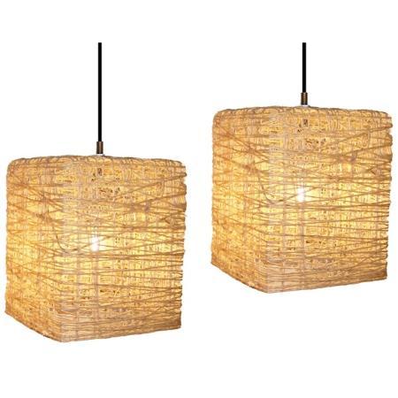 Lámparas artesanales de hilo modelo cuadrado