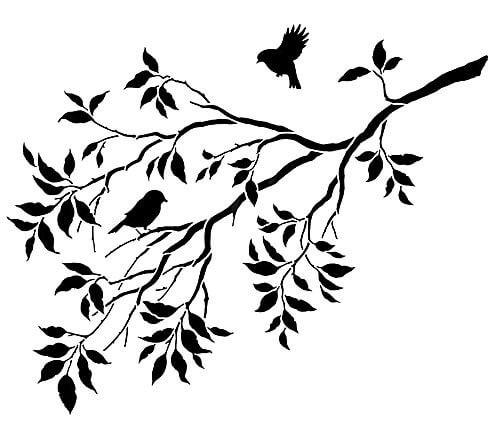 Plantilla de aves y ramas para decorar paredes