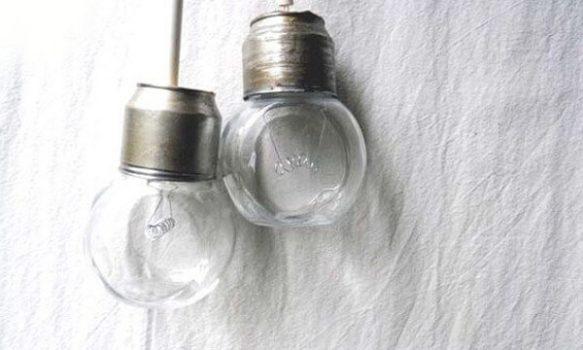 Lamparillas con frascos reciclados