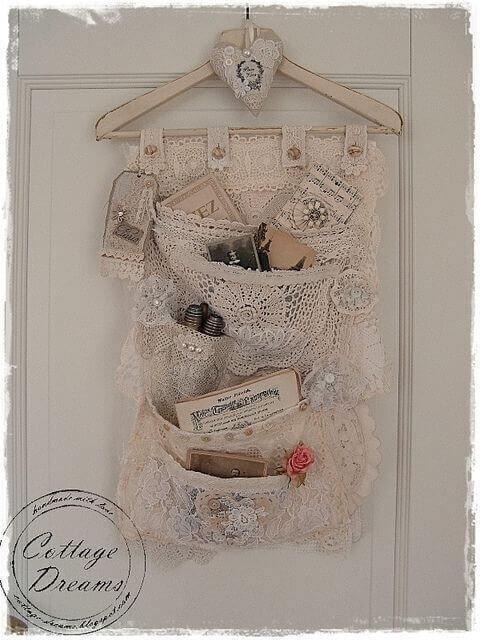 Organizador decorativo con crochet vintage