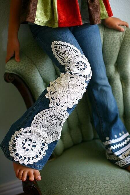 Ideas para decorar con crochet un jean
