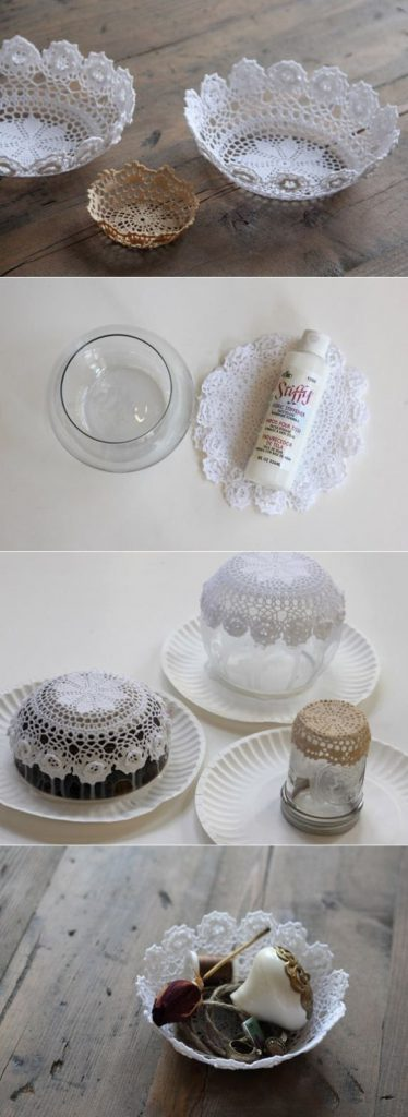 Centro de mesa hecho con un mantel de crochet
