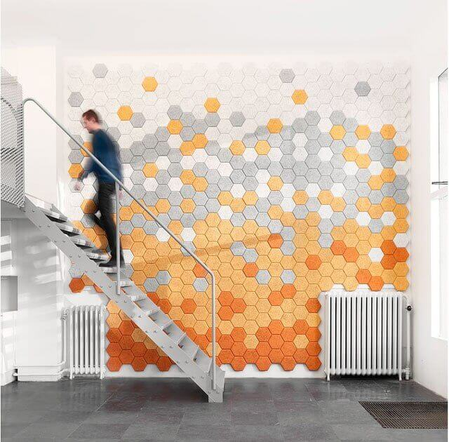 Revestimiento para pared con hexagonos