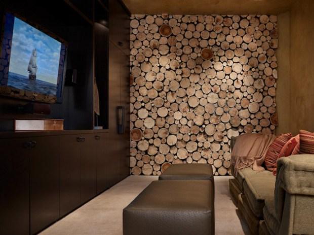 Revestimiento para pared con troncos