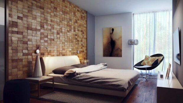Revestimiento de pared con cuadrados de madera