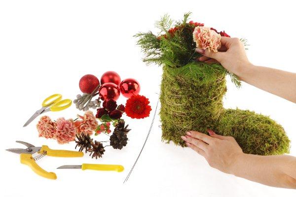 Bota de musgo para decorar en navidad