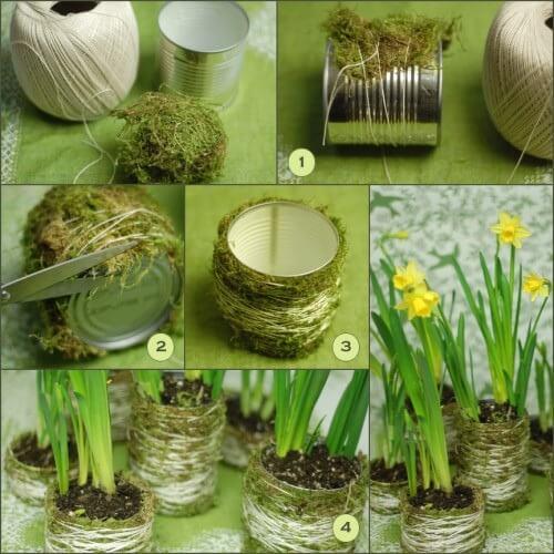 Idea para decorar una lata con musgo