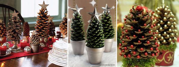 Decorar con pi as ideas de adornos para una navidad - Decoracion navidena artesanal ...