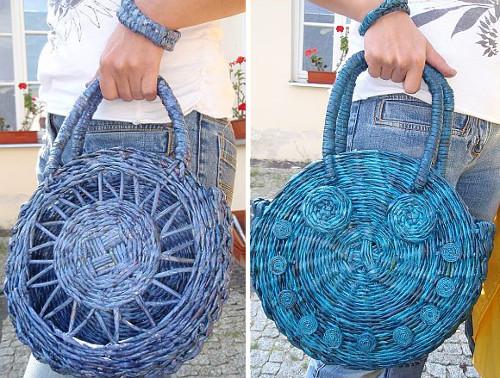 Bolso de mano modelo circular en periodico reciclado