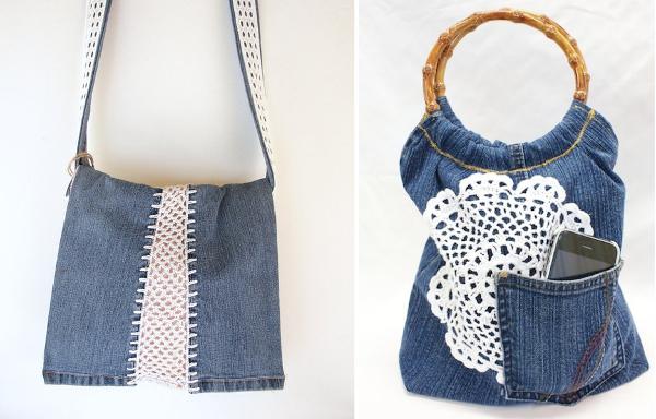Bolsos de jean reciclado y crochet