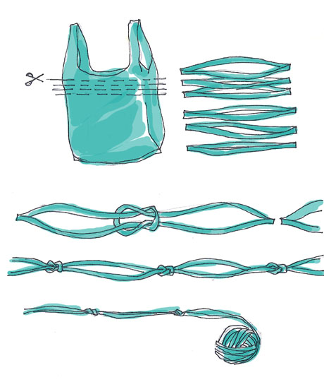 Cortar las bolsas para reciclar paso a paso