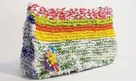Bolso reciclado tejido a crochet con bolsas