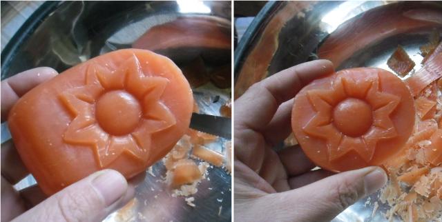 Cortar y tallar para dar forma al jabon