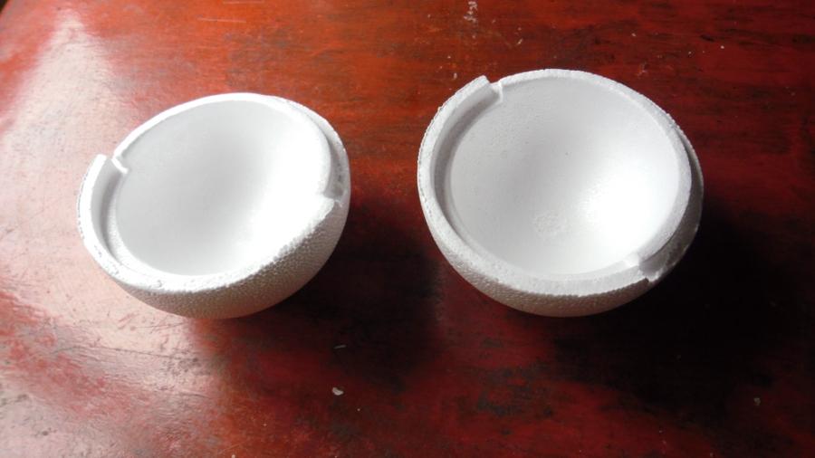Molde de telgopor para hacer velas esfera