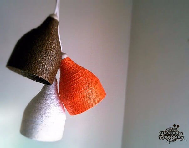 Botellas de plástico recicladas cómo hacer lámparas con botellas e hilo