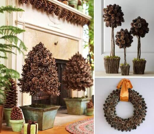 Ideas naturales para decorar la navidad con piñas