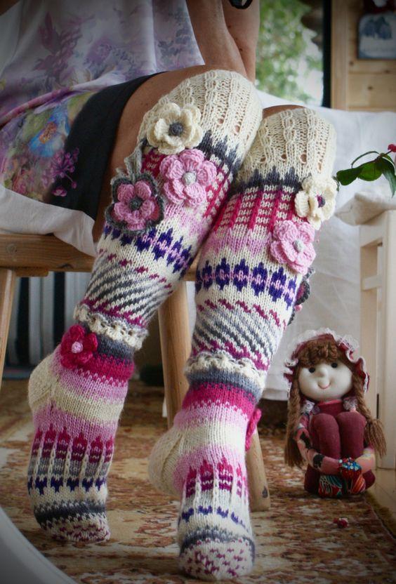 Patrones de calcetines y medias modelo de medias de colores