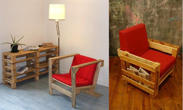 Modelos de sillones reciclados con palets y almohadones
