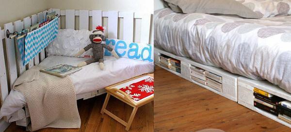 Cama esquinera y cama simple de palets reciclados