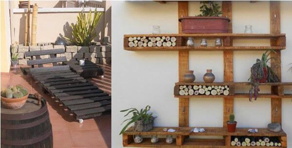 Reposera y estantería de jardín hechas con palets