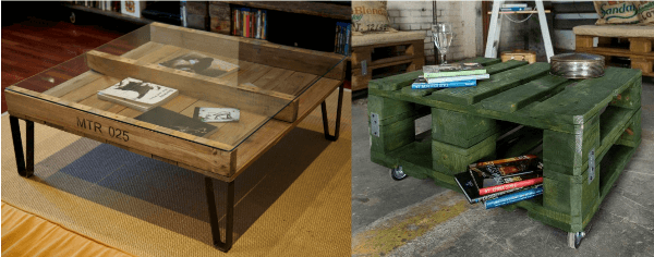 Ejemplos de mesas de café hechas con palets reciclados