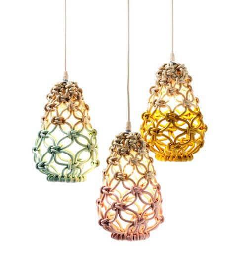 Macramé diseños de lámparas con forma de farol