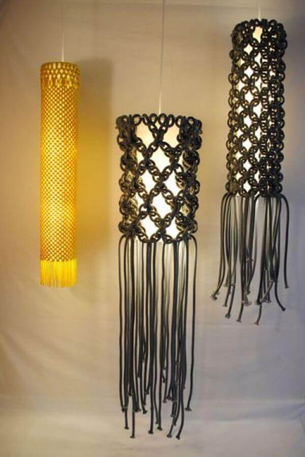 Lámparas decoradas con macramé