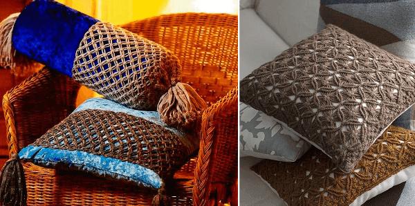 Cojines y almohadones de macramé