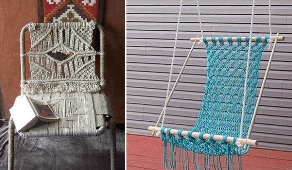 Silla reciclada con hilo sisal y una hamaca artesanal colgante
