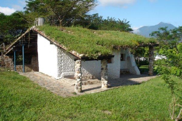 Casas hechas con botellas y techo verde