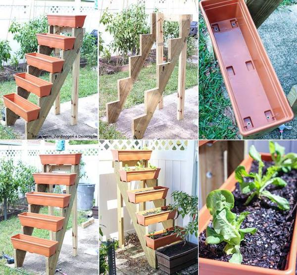 Idea con madera para la huerta en casa