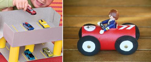 Autos y pistas de autos hechas con cartón reciclado de rollos