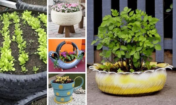 Neum ticos reciclados 20 ideas para maceteros de jard n for Banderas decorativas para el jardin