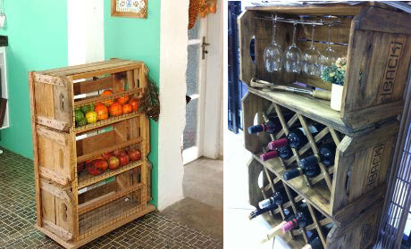 Organizadores para la cocina hechos con cajas de madera recicladas