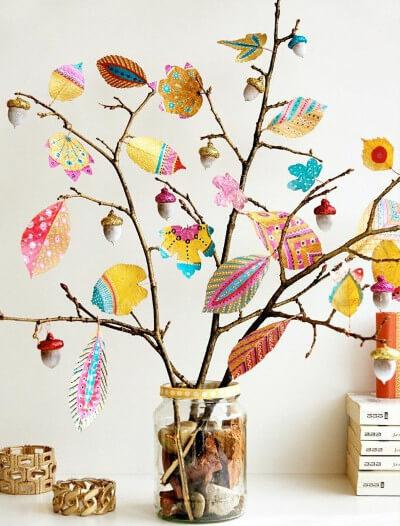 Decorar en oto o con manualidades naturales y c lidas diario artesanal - Decorar hojas de otono ...