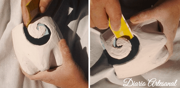 Proceso de lijado del recipiente artesanal