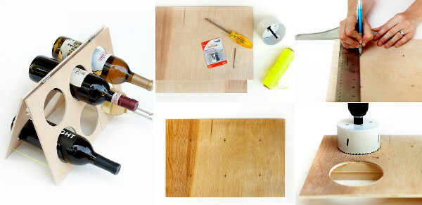Portavinos artesanal de madera
