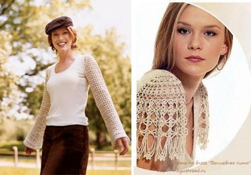Alargar las mangas con tejido a crochet